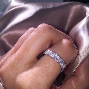 NEW 925 Silver Diamond Triple Full Eternity Ring